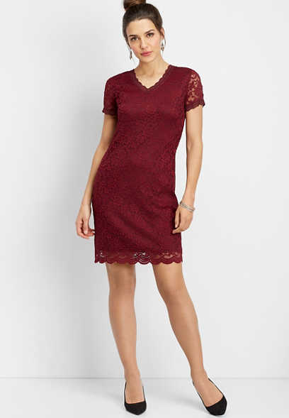 v-neck lace sheath dress