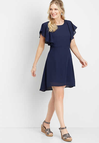 solid flutter sleeve v-back dress