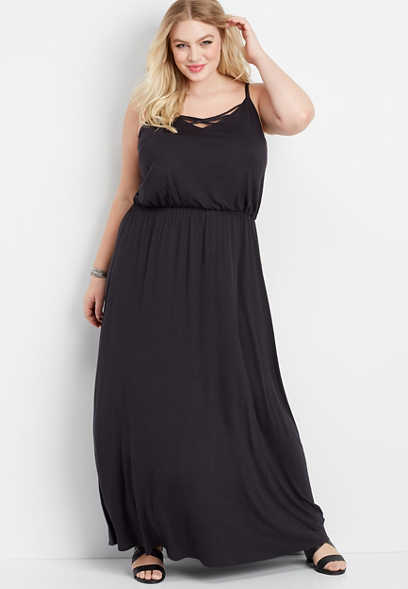 plus size 24/7 lattice neck maxi dress