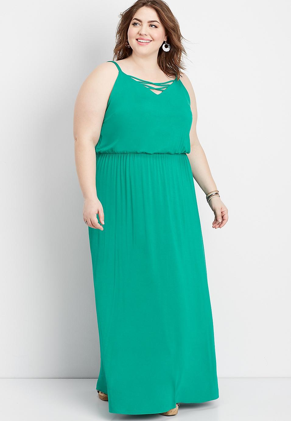 plus size 24/7 lattice neck maxi dress | maurices