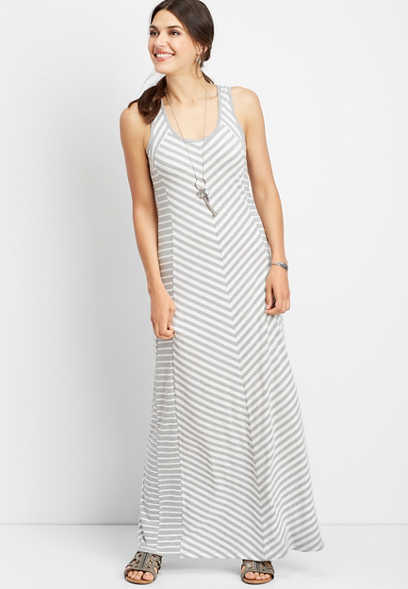 stripe scoop neck maxi dress