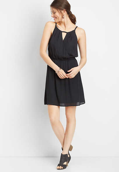 solid surplice neck skater dress