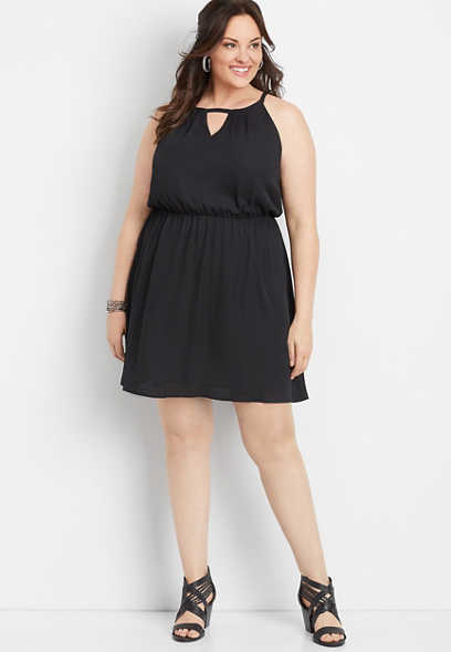 plus size solid surplice neck skater dress