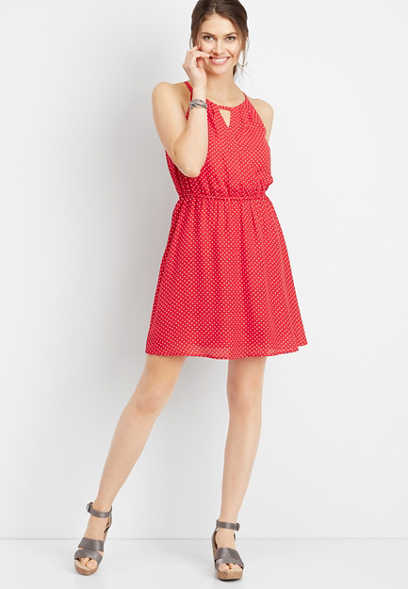 polka dot keyhole neck dress