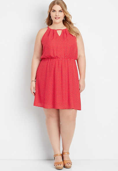 plus size polka dot keyhole neck dress