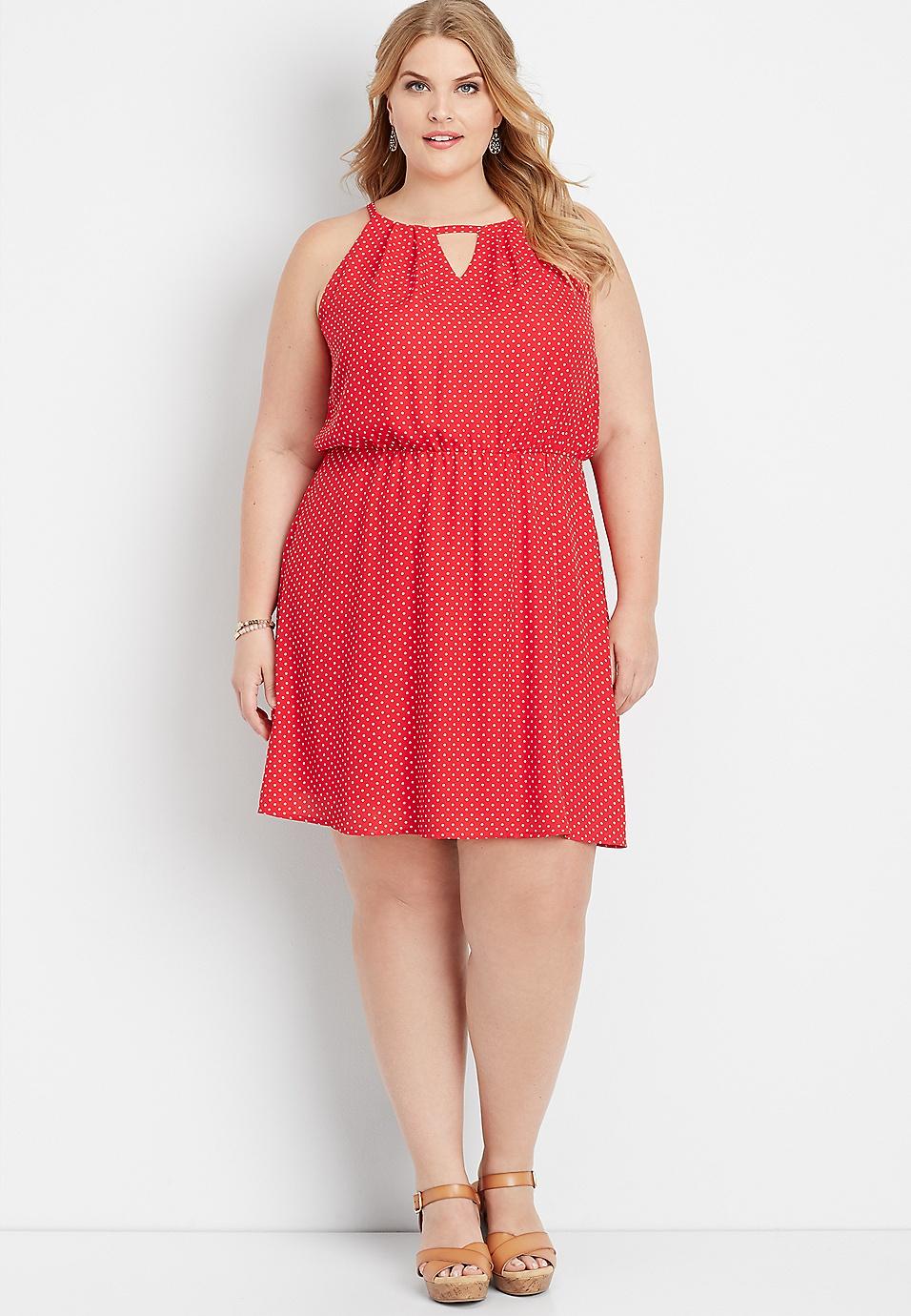 plus size polka dot keyhole neck dress | maurices