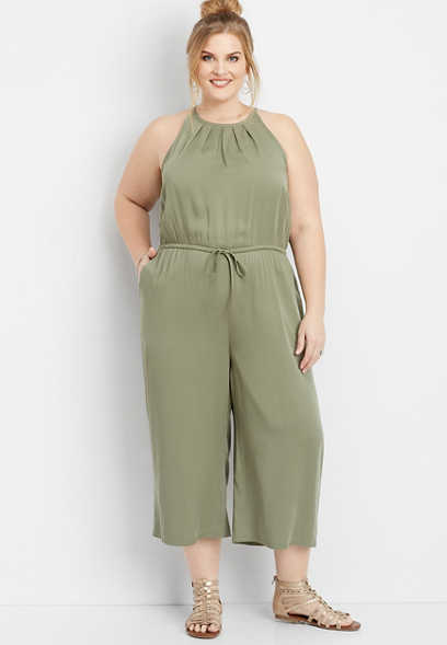 plus size pleated neck tie front jumpsuit