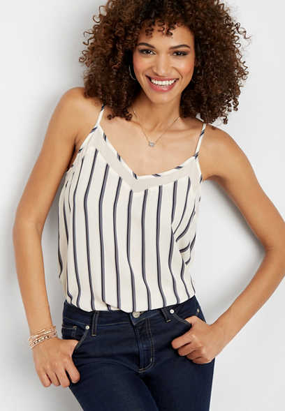 stripe v-neck tank