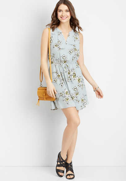 floral v-neck tie waist dress