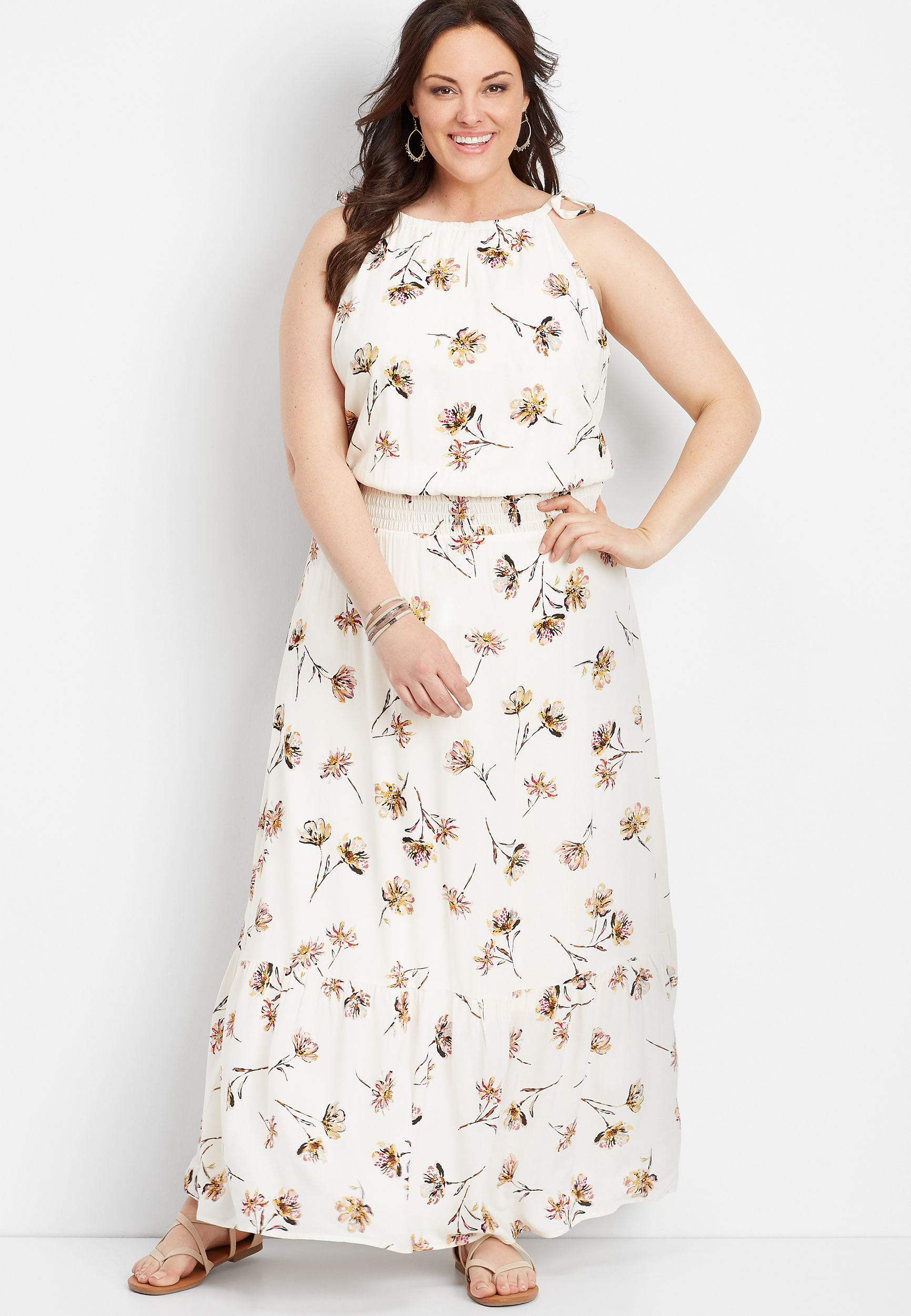 Plus Size Floral Print Smocked Waist Maxi Dress by Maurices