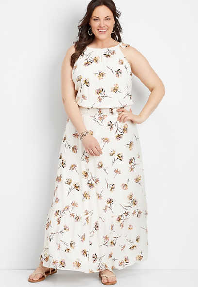 plus size floral print smocked waist maxi dress
