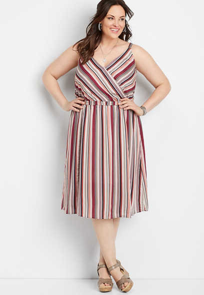 plus size stripe mid-length dress