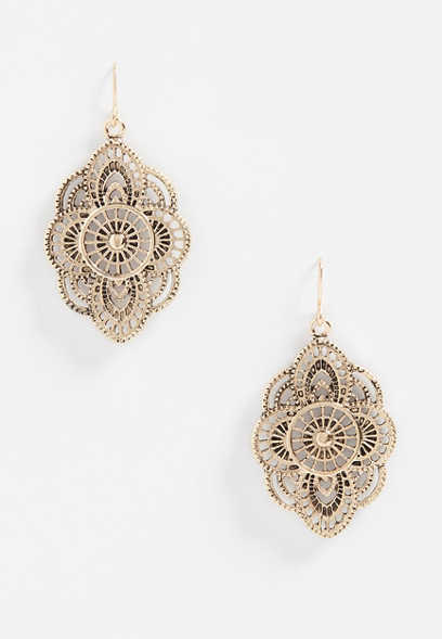 goldtone cutout drop earrings