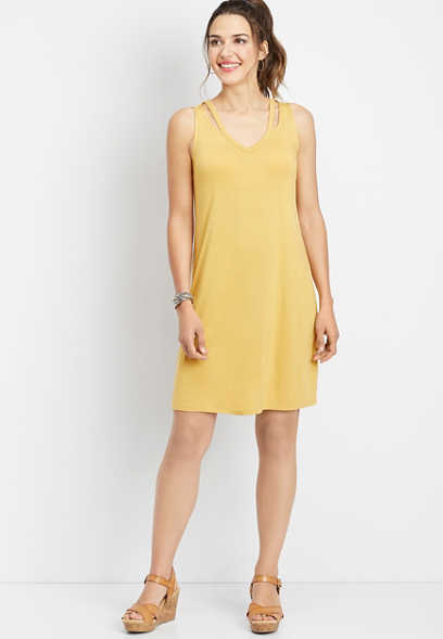 24/7 solid strap v-neck dress