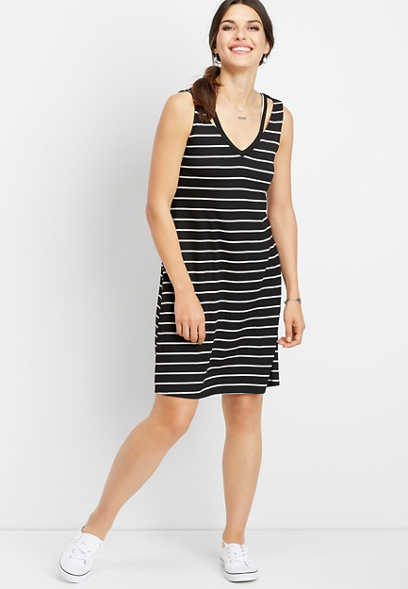 24/7 stripe v-neck dress