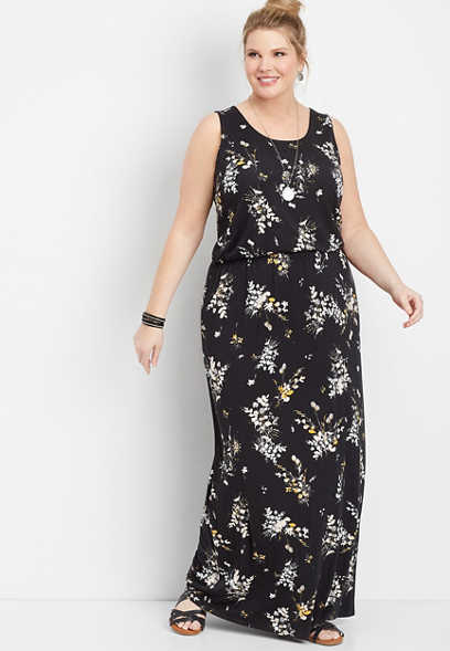 plus size floral sccop neck maxi dress