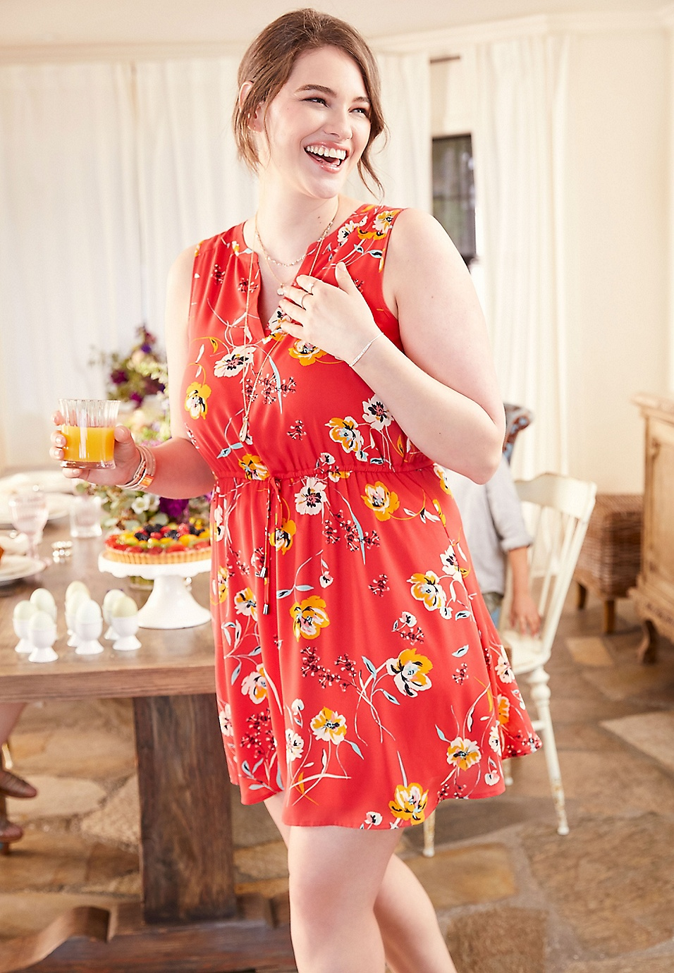 plus size retro floral v-neck dress | maurices