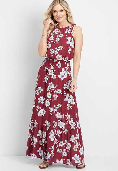 d5df33710a8 floral smocked waist maxi dress