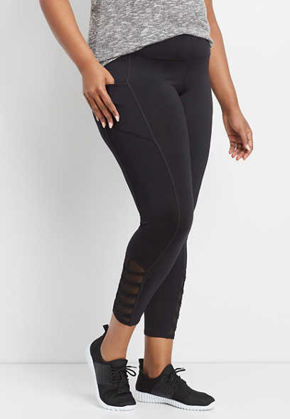 plus size twisted mesh 7/8 active legging