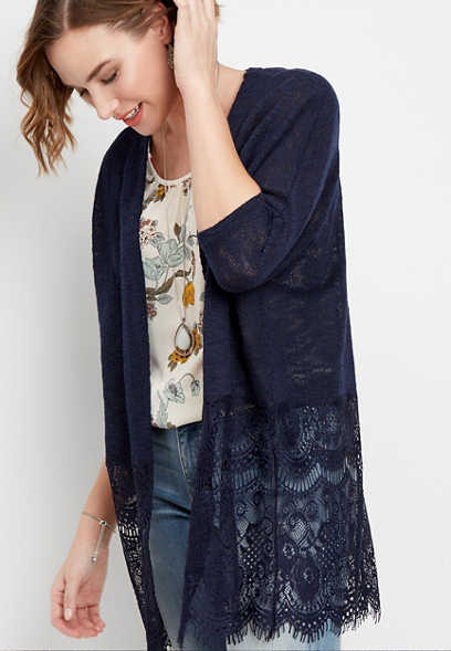 open front lace block cardigan