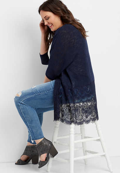 5f820fc2167 plus size open front lace block cardigan