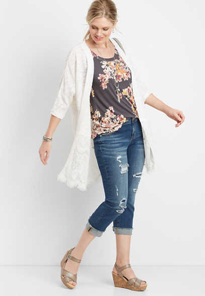 lace block cardigan