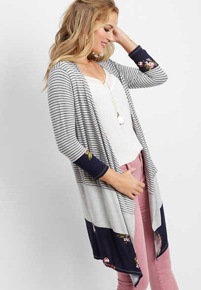 floral stripe colorblock cardigan
