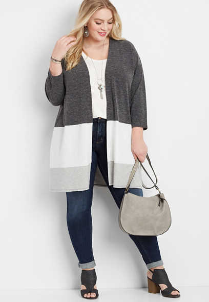 plus size gray open front colorblock cardigan