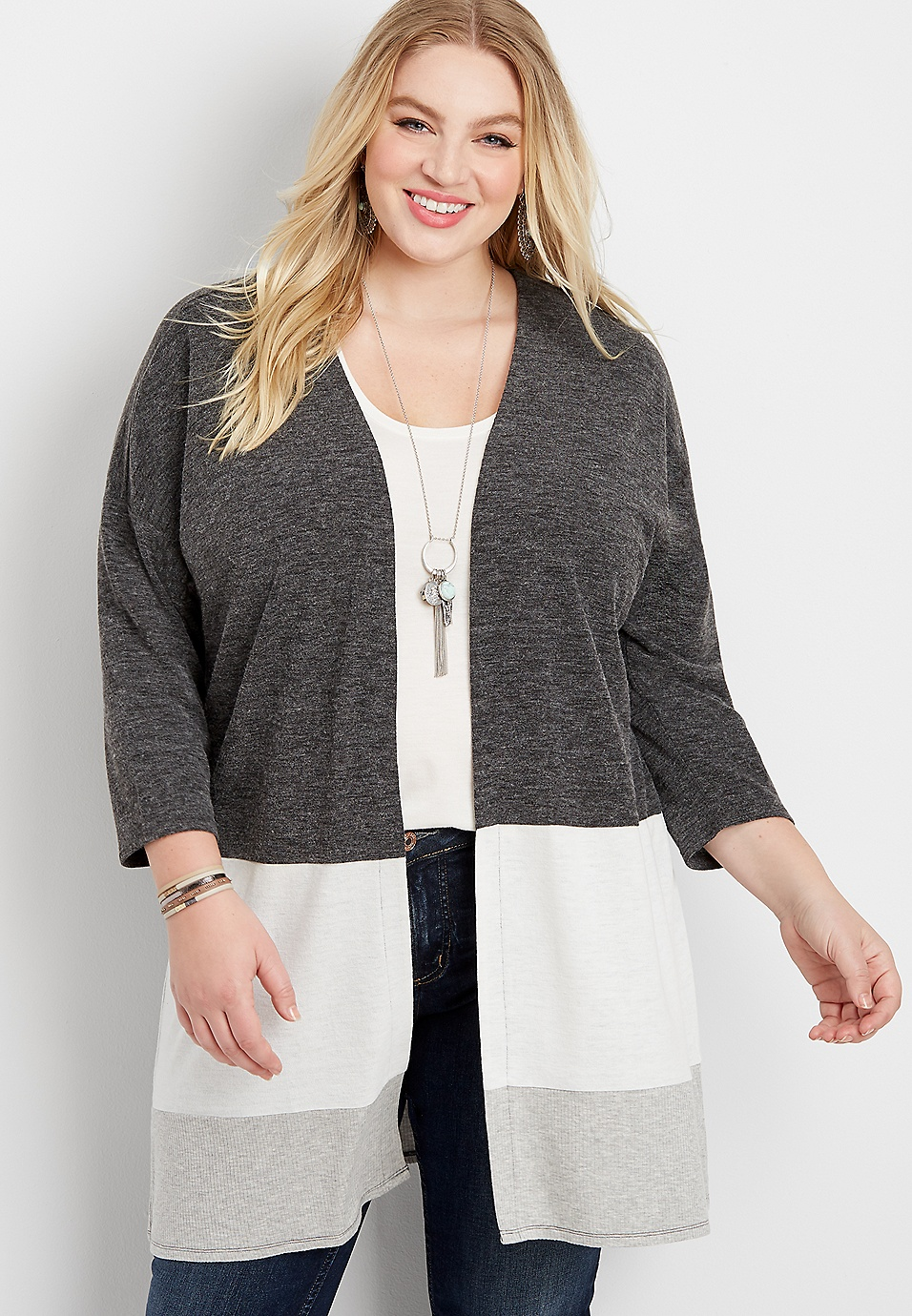 f644324cb7a plus size gray open front colorblock cardigan