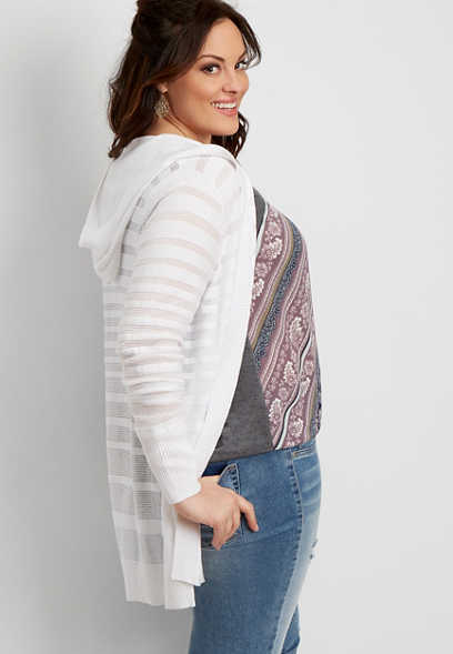 af63bb1955 plus size shadow stripe open hooded cardigan