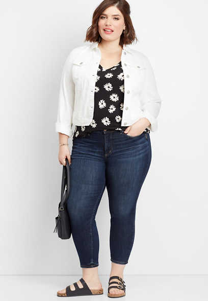 plus size Silver Jeans Co.® Avery high rise dark skinny cropped jean