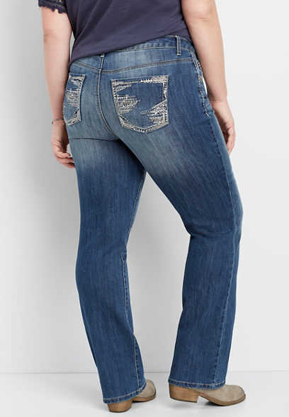 plus size DenimFlex™ thick stitch dark slim boot jean