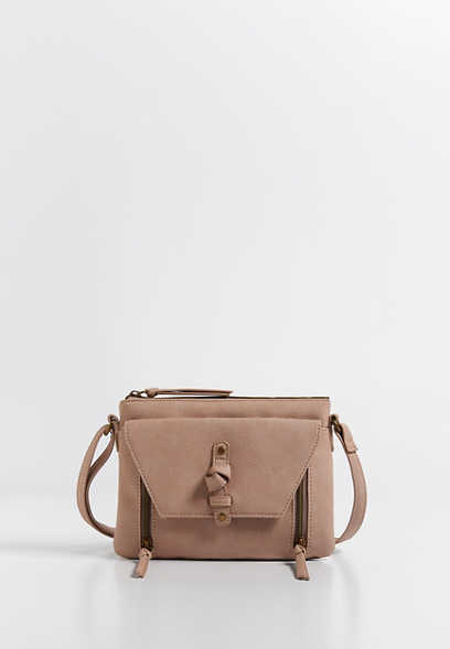 knot front faux leather crossbody bag