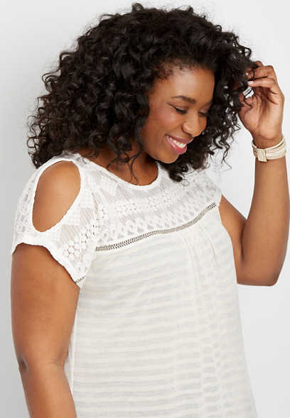 plus size knit stripe cold shoulder top