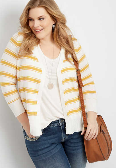 plus size stripe open front slub cardigan