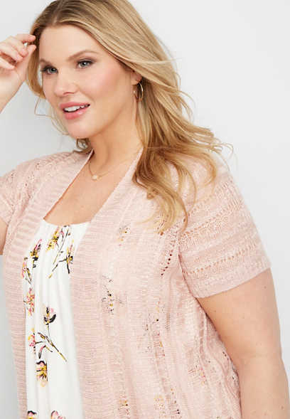 plus size cap sleeve open stitch cardigan