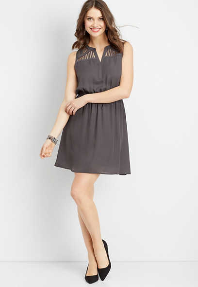 lattice shoulder v-neck dress
