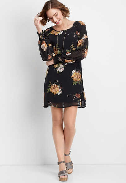 floral cinched sleeve shift dress