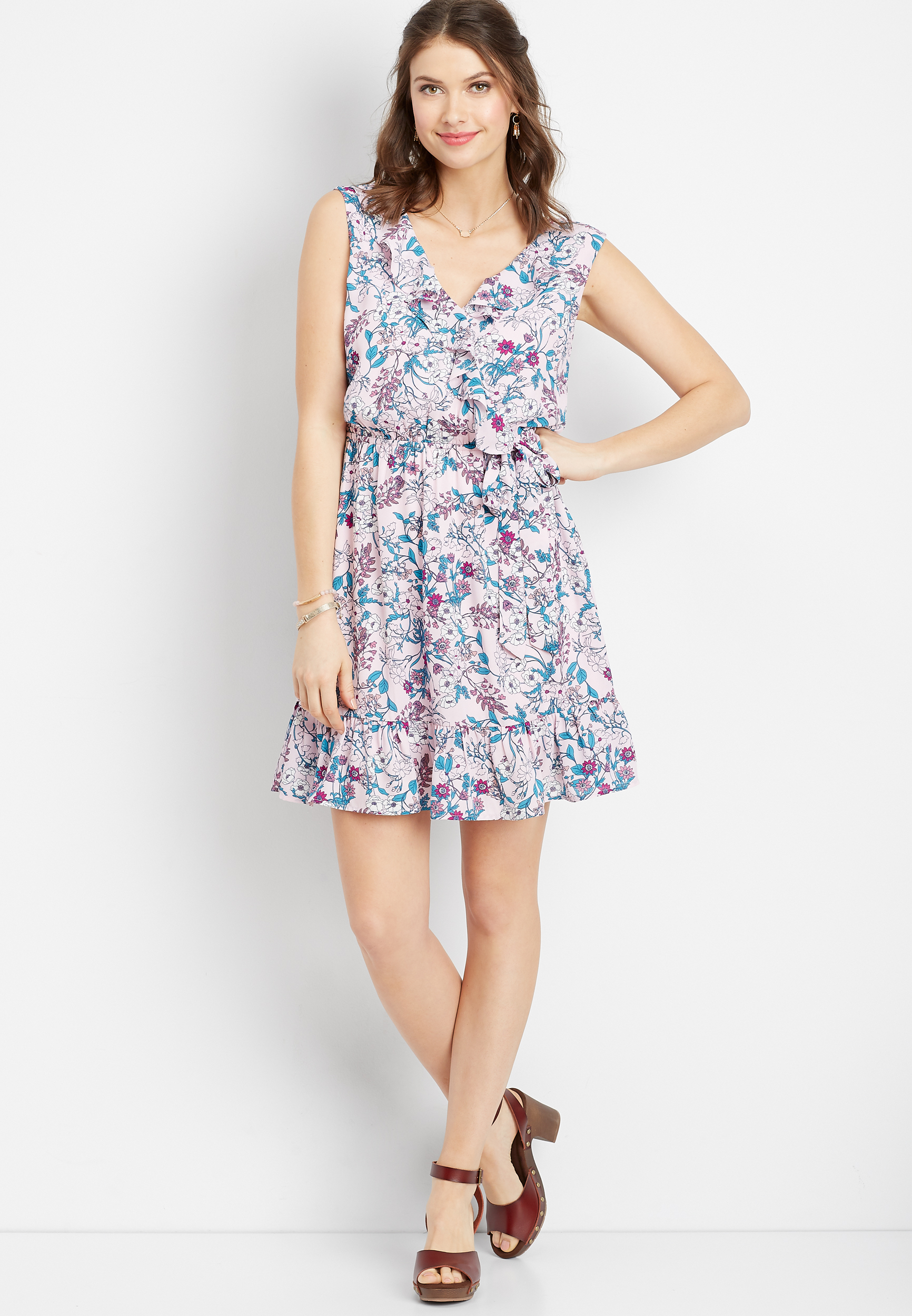 Pink Floral Wrap Front Dress by Maurices
