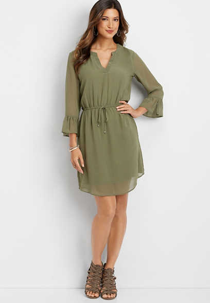 bell sleeve v-neck dress