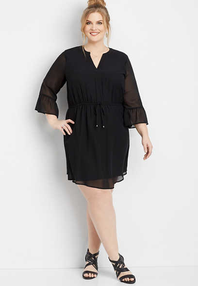 plus size bell sleeve v-neck dress