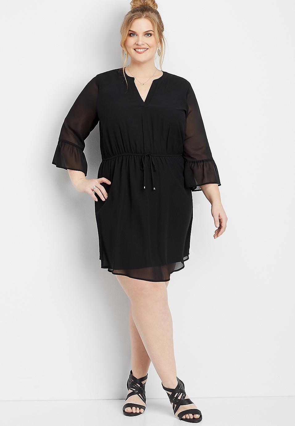 8d717228c8fb0 plus size bell sleeve v-neck dress