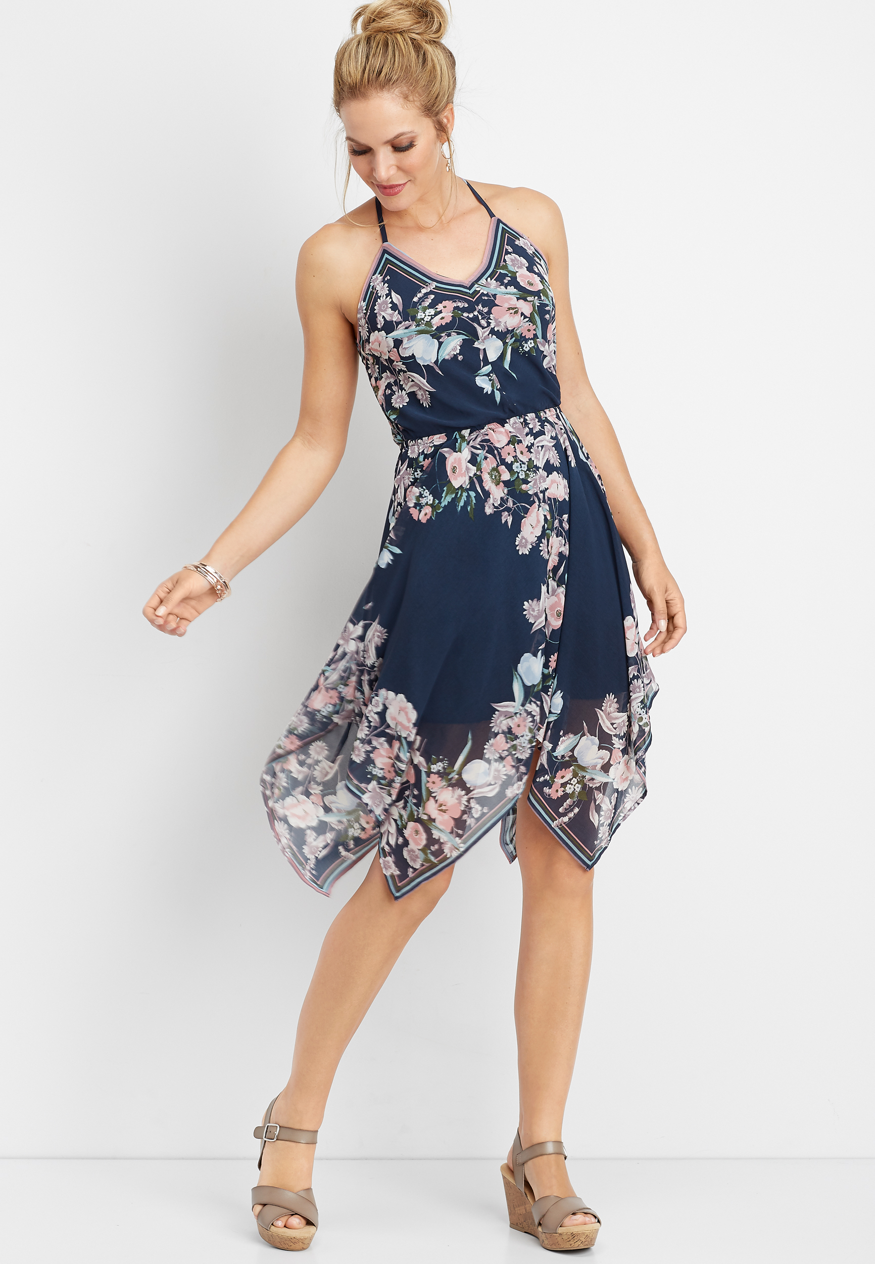 Floral Hanky Hem Dress by Maurices
