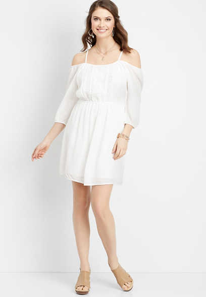 3/4 sleeve white prairie dress
