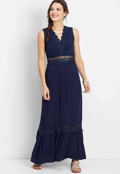 crocheted v-neck maxi dress