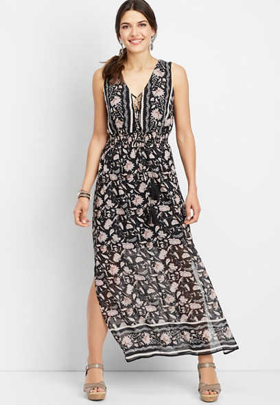 lace up border print maxi dress