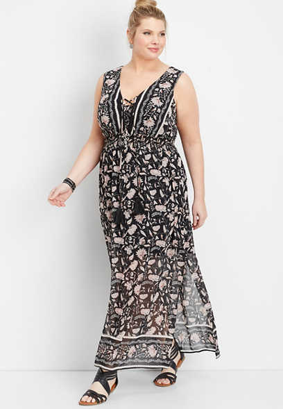 d5057cd844728 plus size lace up border print maxi dress