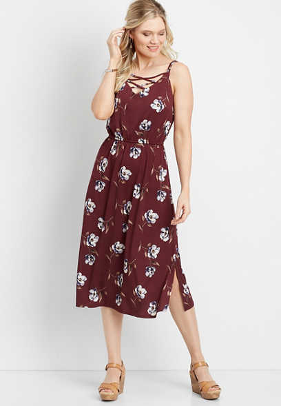 floral lattice mid-length dress