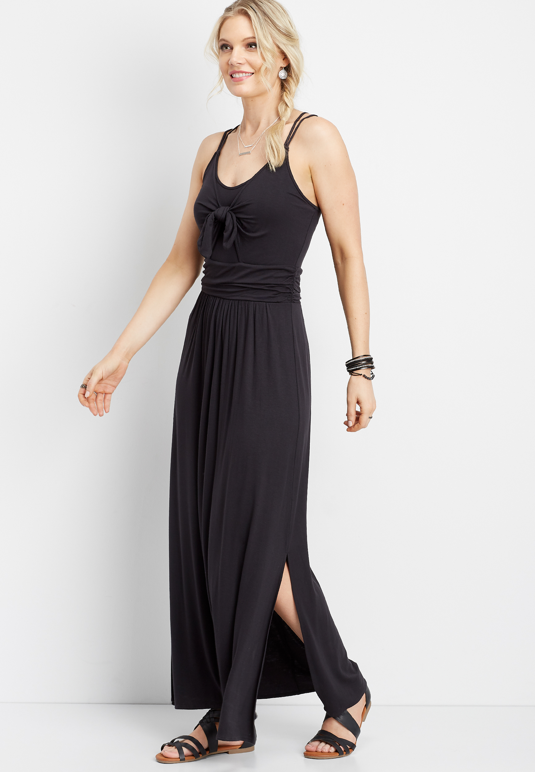 Solid Tie Front Maxi Dress by Maurices