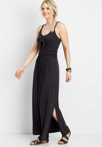 solid tie front maxi dress